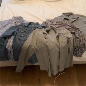 5 men's Button down shirts